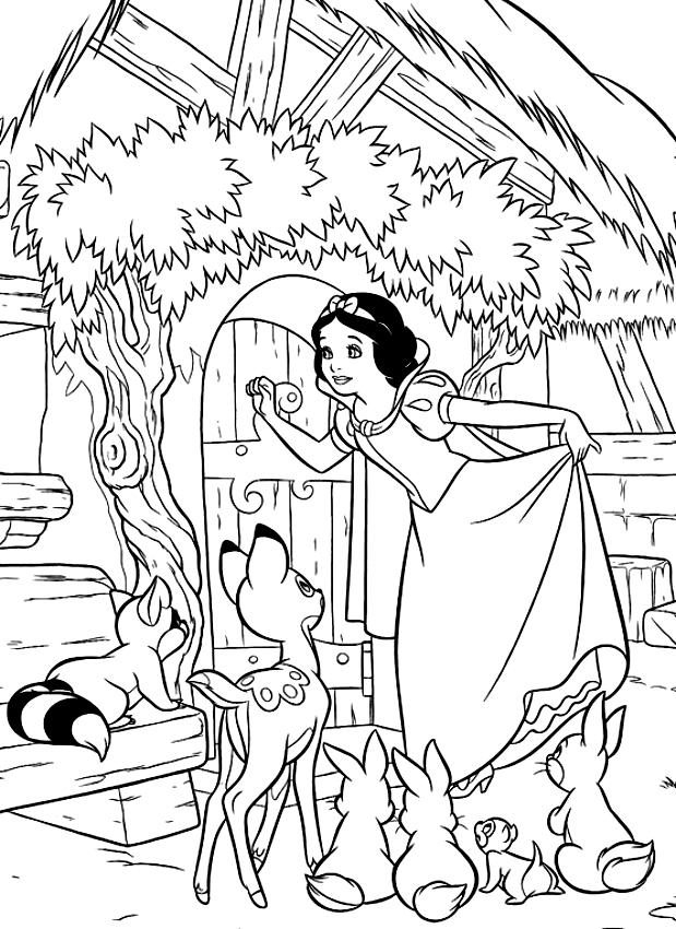 Dibujo De Blancanieves Quien Golpea La Casa De Los Siete