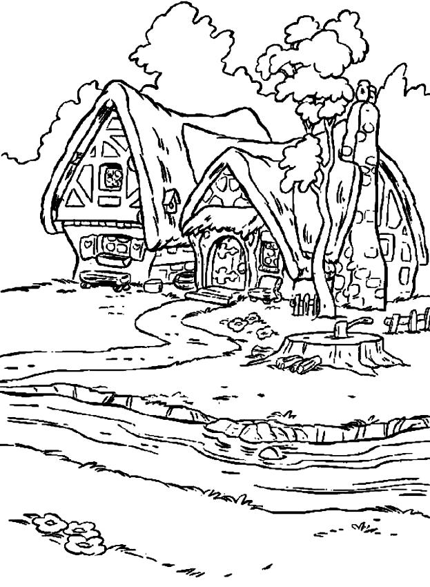 Dibujo De La Casa De Los Siete Enanitos Para Colorear