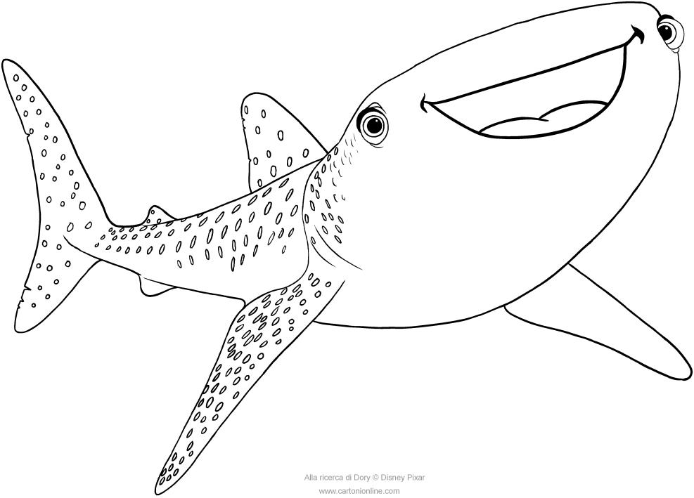 Dibujo de Destiny el tiburón ballena (Buscando a Dory) para colorear
