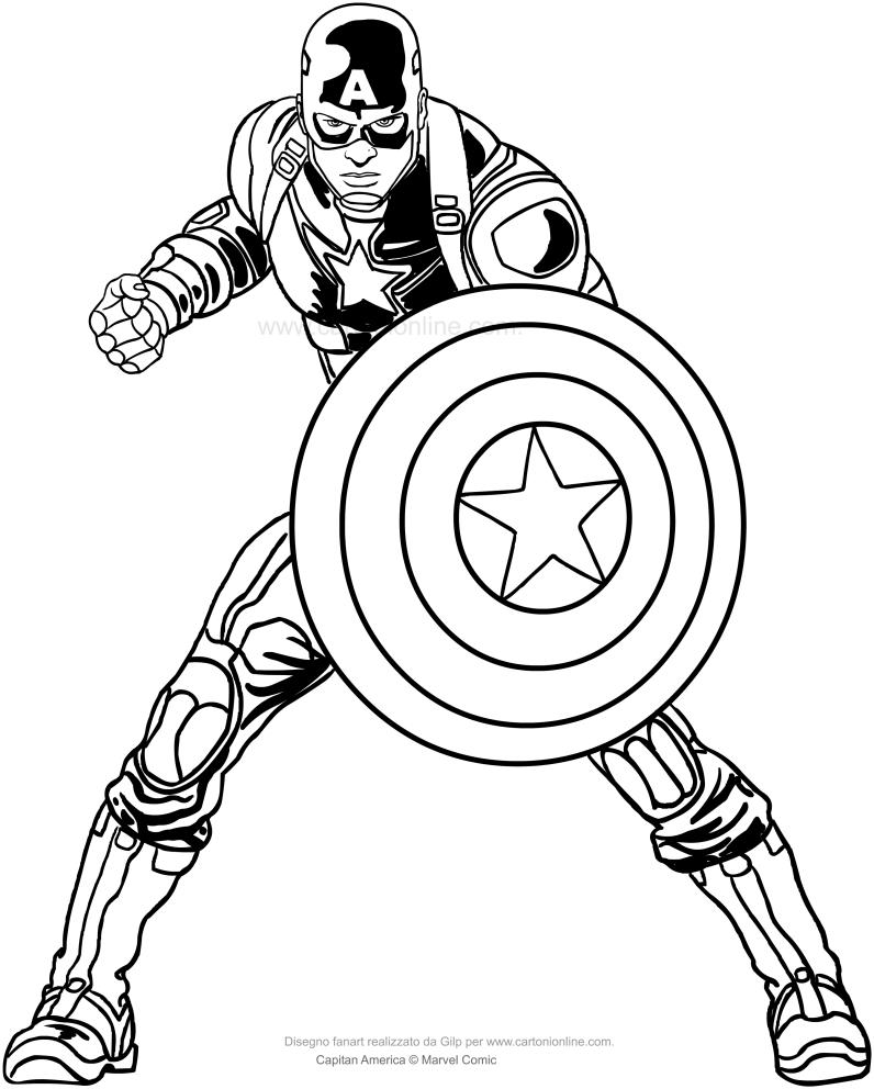 Dibujo de Capitán América para colorear