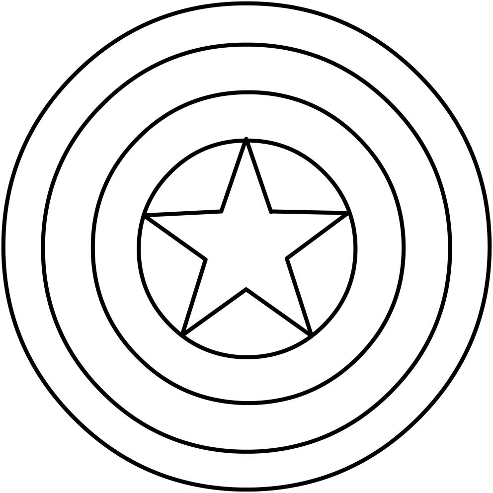 Dibujo del escudo de Capitán América para colorear