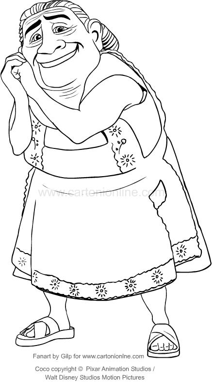 Dibujo de Abuelita (Coco La película ) para colorear