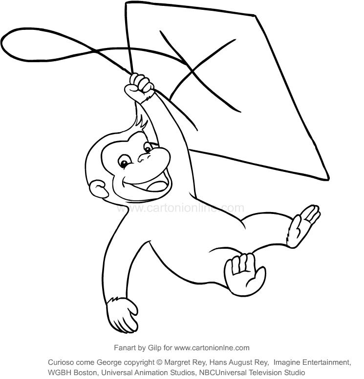 Dibujo de Jorge con la cometa (Jorge, el curioso) para colorear