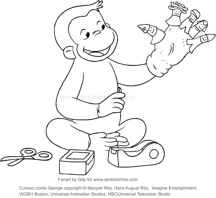 Dibujo de Jorge quien construye marionetas (Jorge, el curioso) para ...