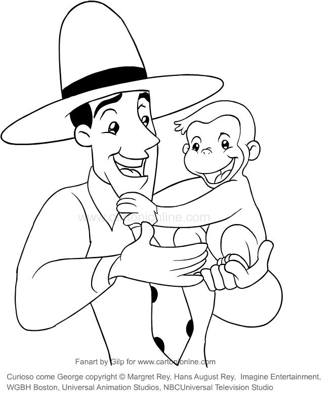 Dibujo De Jorge Y El Hombre Del Sombrero Amarillo Jorge El