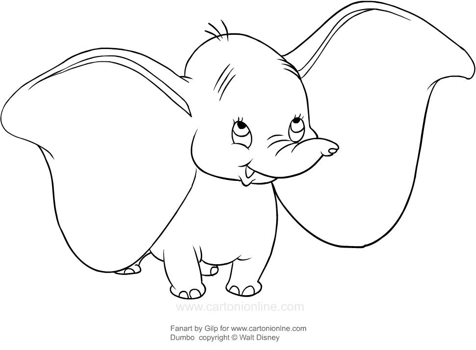 Dibujo Para Colorear Del Elefante Dumbo De La Película De: Dibujo De Dumbo Feliz Para Colorear