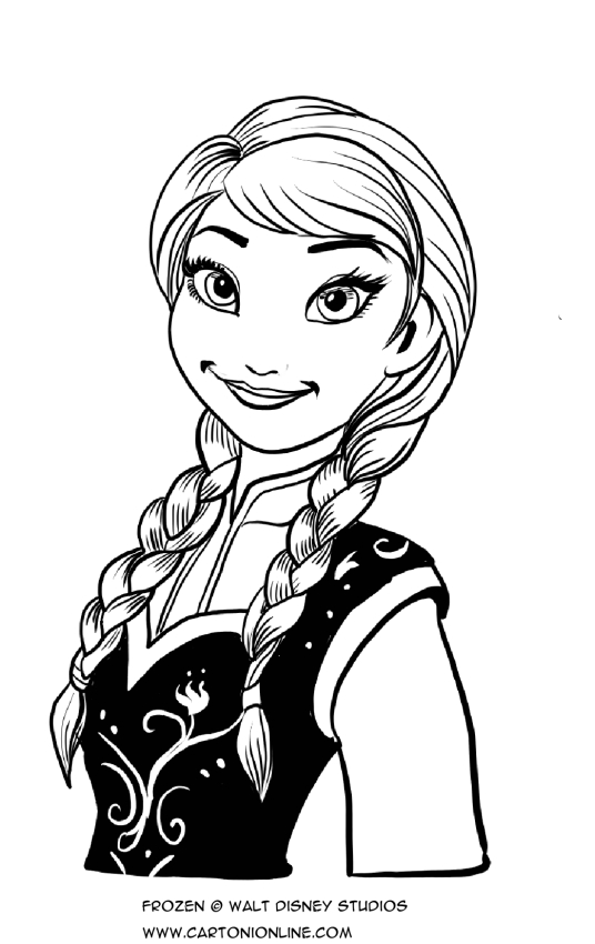 Dibujo De Anna Sonriendo Para Colorear