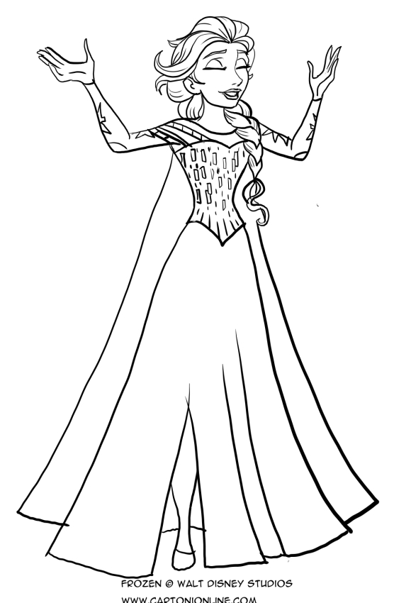 Dibujo De Elsa Que Canta Para Colorear