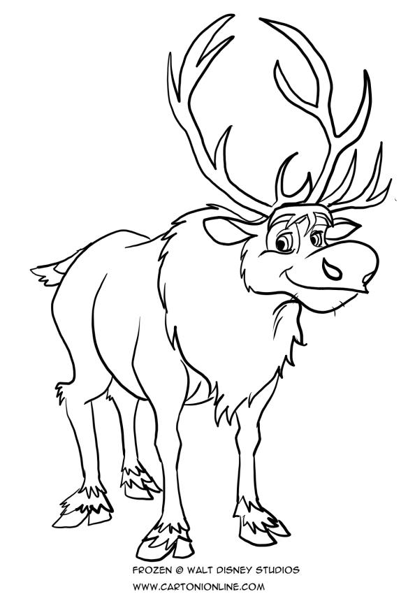 Dibujo de Sven, el reno para colorear