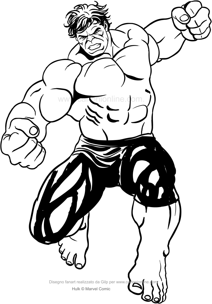 Dibujo de Hulk golpeando con su puño para colorear