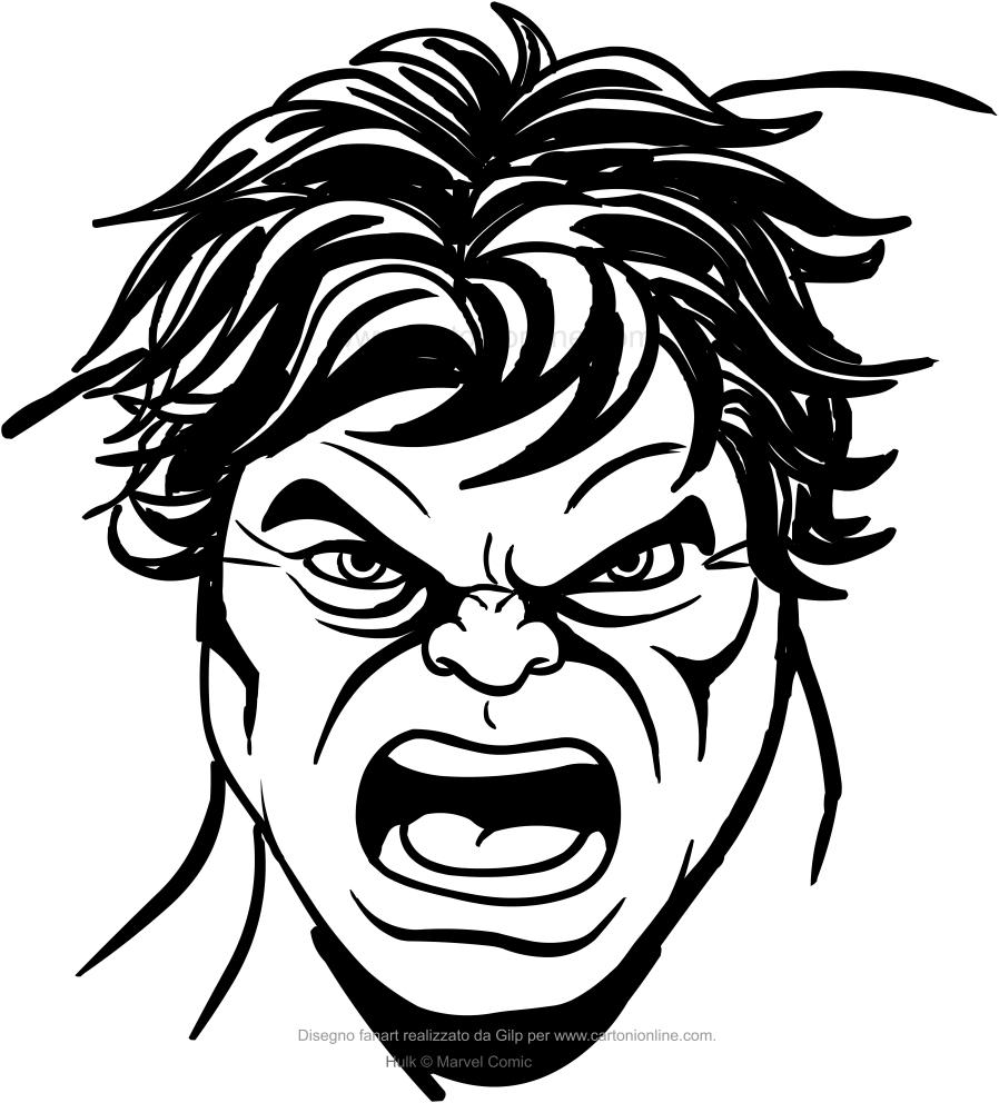 Dibujo de Hulk de la cara para colorear