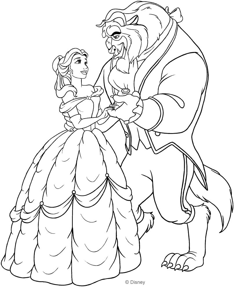 Dibujo de belle y la bestia de baile para colorear