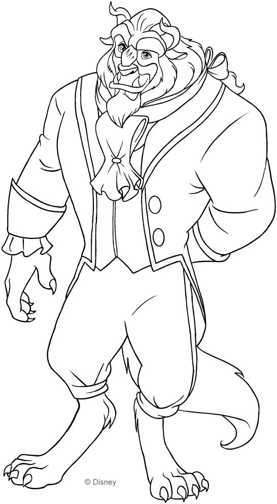 Dibujo de la bestia (La bella y la bestia) para colorear