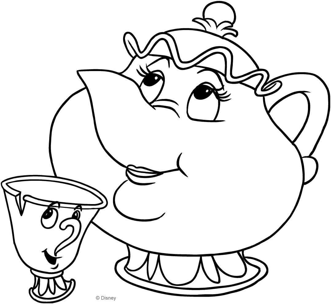 Dibujo de Señora Potts y Chip (La bella y la bestia) para colorear