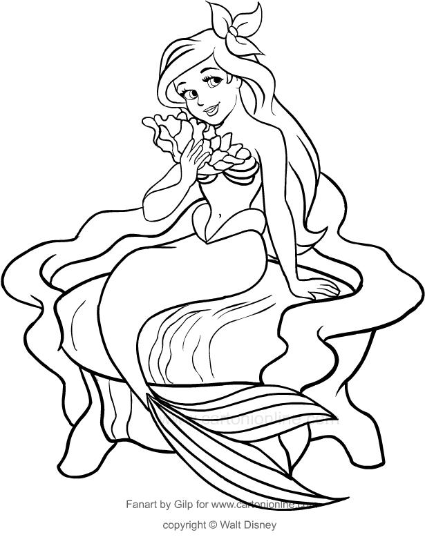 Dibujo De Ariel En El Trono La Sirenita Para Colorear