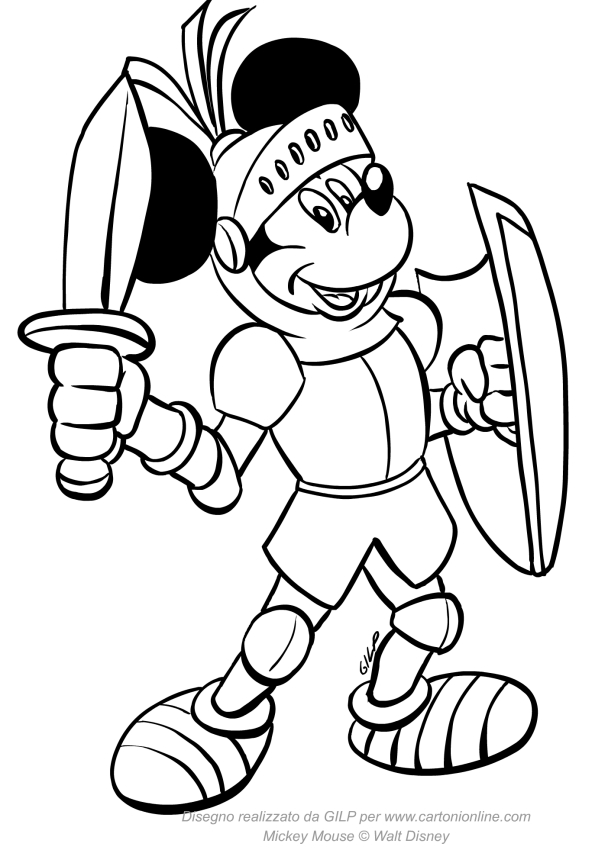 Dibujo de Mickey Mouse caballero medieval para colorear