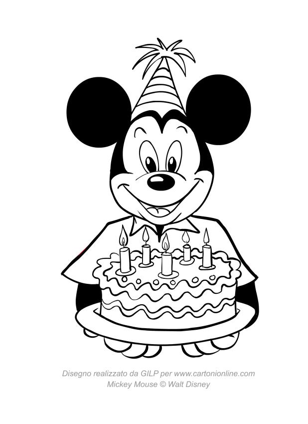Dibujo de Mickey Mouse con pastel de cumpleaños para colorear