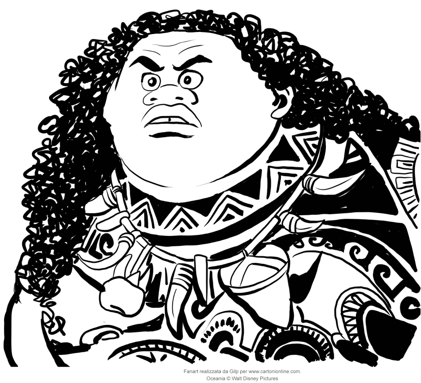 Coloring Pages Moana Maui