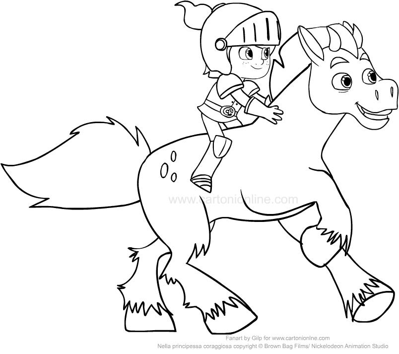 Dibujo De Sir Garrett Y El Caballo Clot Para Colorear