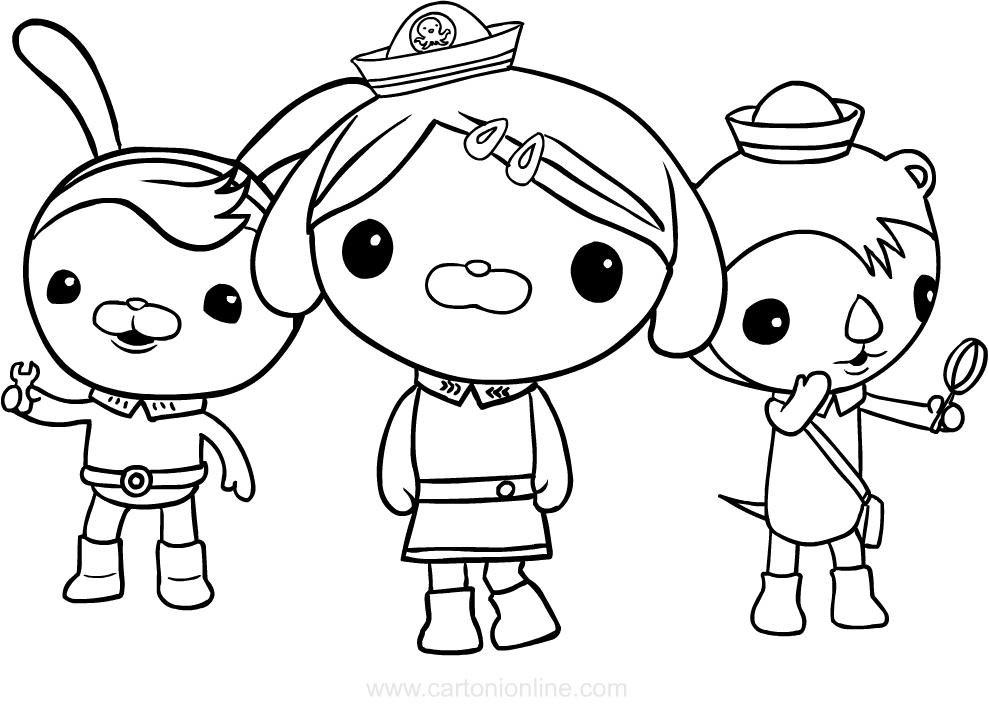 Dibujo de Los octonautas Dashi, Shellington y Tweak para colorear