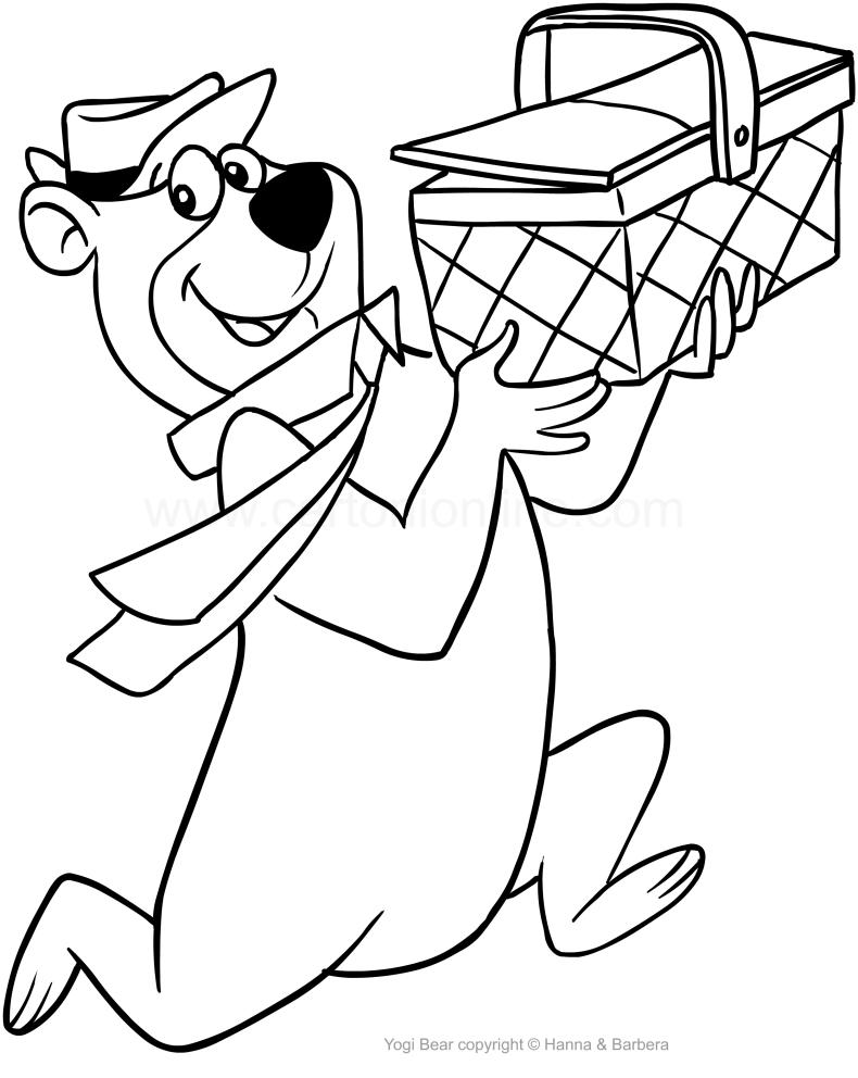 Dibujo de el Oso Yogui che roba la cesta de bocadillos para colorear
