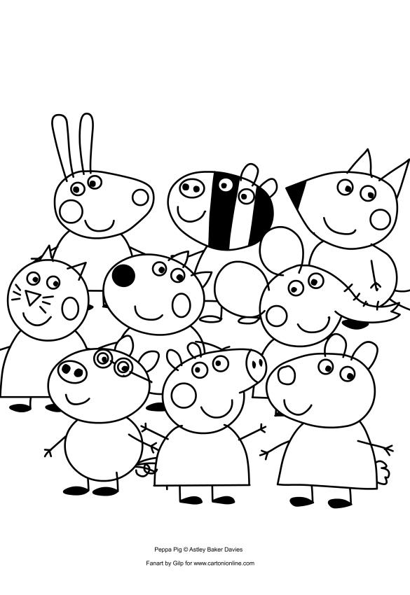 Dibujo De Peppa Pig Y Sus Amigos Para Colorear
