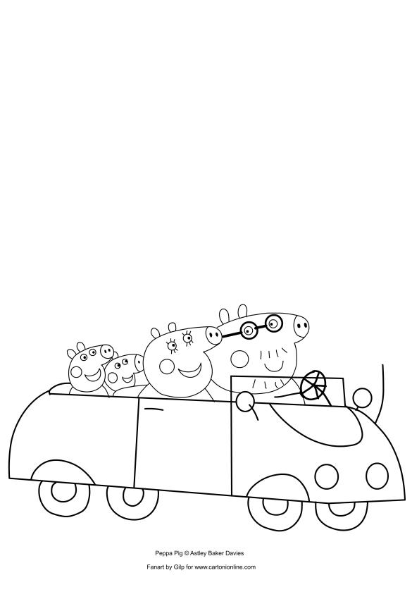 Dibujo De Peppa Pig En El Auto Con Su Familia Para Colorear