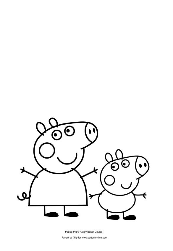 Dibujo De Peppa Y George Pig Para Colorear