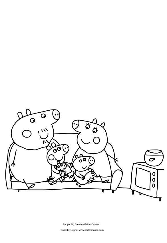 dibujo de peppa pig y george con sus abuelos viendo