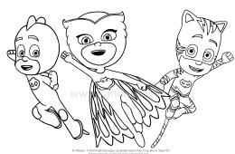 Dibujo para colorear de los PJ Masks-Super Pajamas