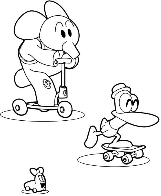 Dibujo de Elly, Pato y la oruga del patín para colorear