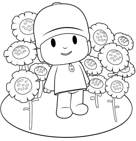 Dibujo de Pocoyó en medio de las flores para colorear