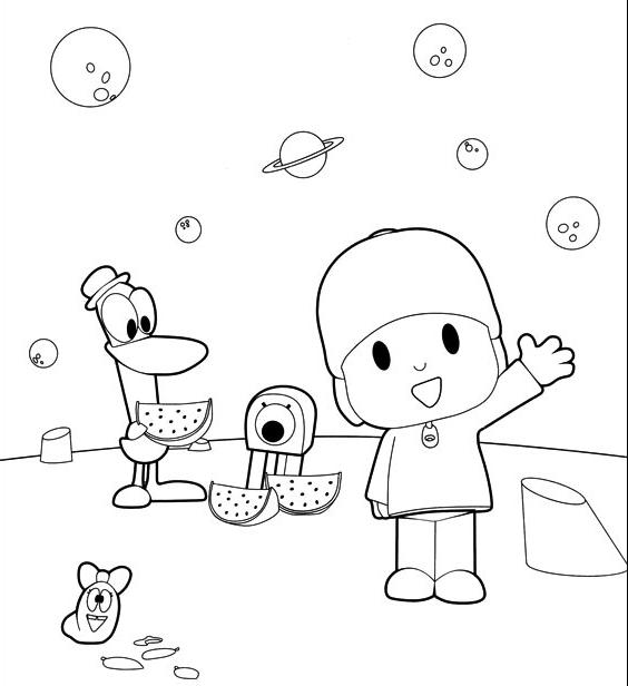 Dibujo De Pocoyo Pato Y La Oruga En La Luna Para Colorear