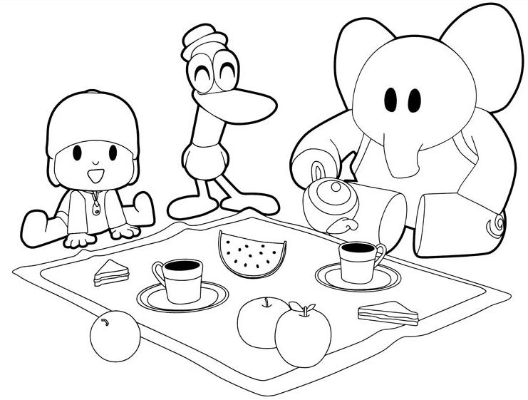 Dibujo De Pocoyó, Pato Y Elly Desayunando Para Imprimir Y Colorear