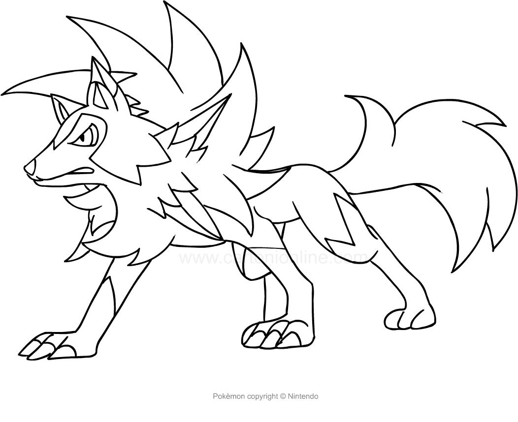 Dibujos Para Colorear Online De Pokemon: Dibujo De Lycanroc De Los Pokemon Para Colorear