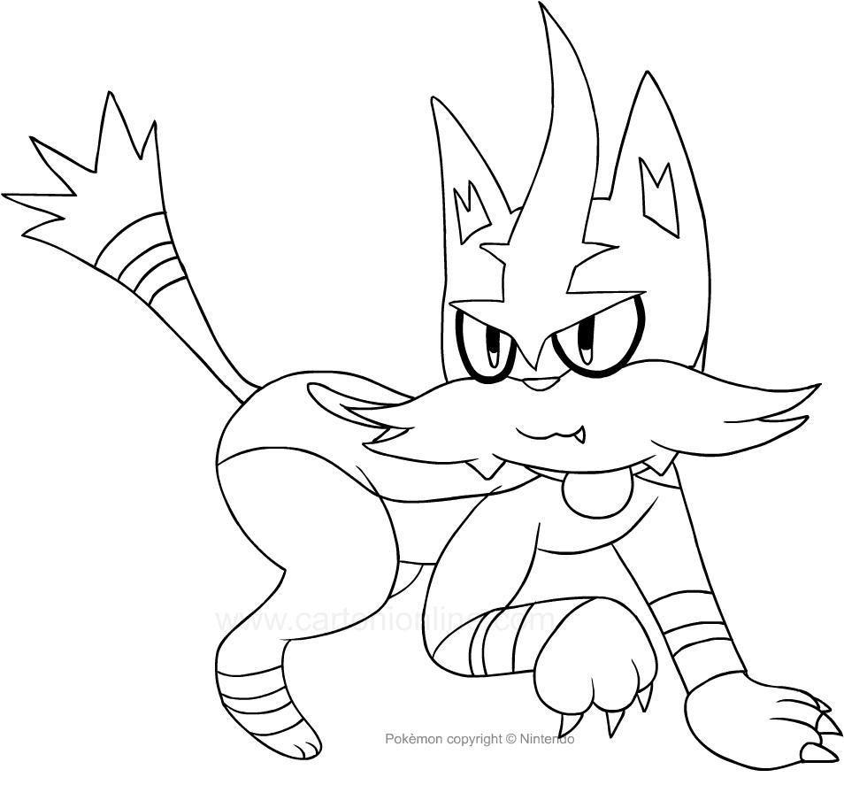 Dibujo de Torracat de los Pokemon para colorear