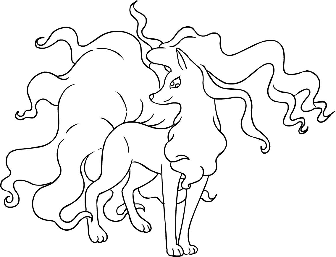 Dibujo de Alolan Ninetales de los Pokémon Sol y Luna para colorear