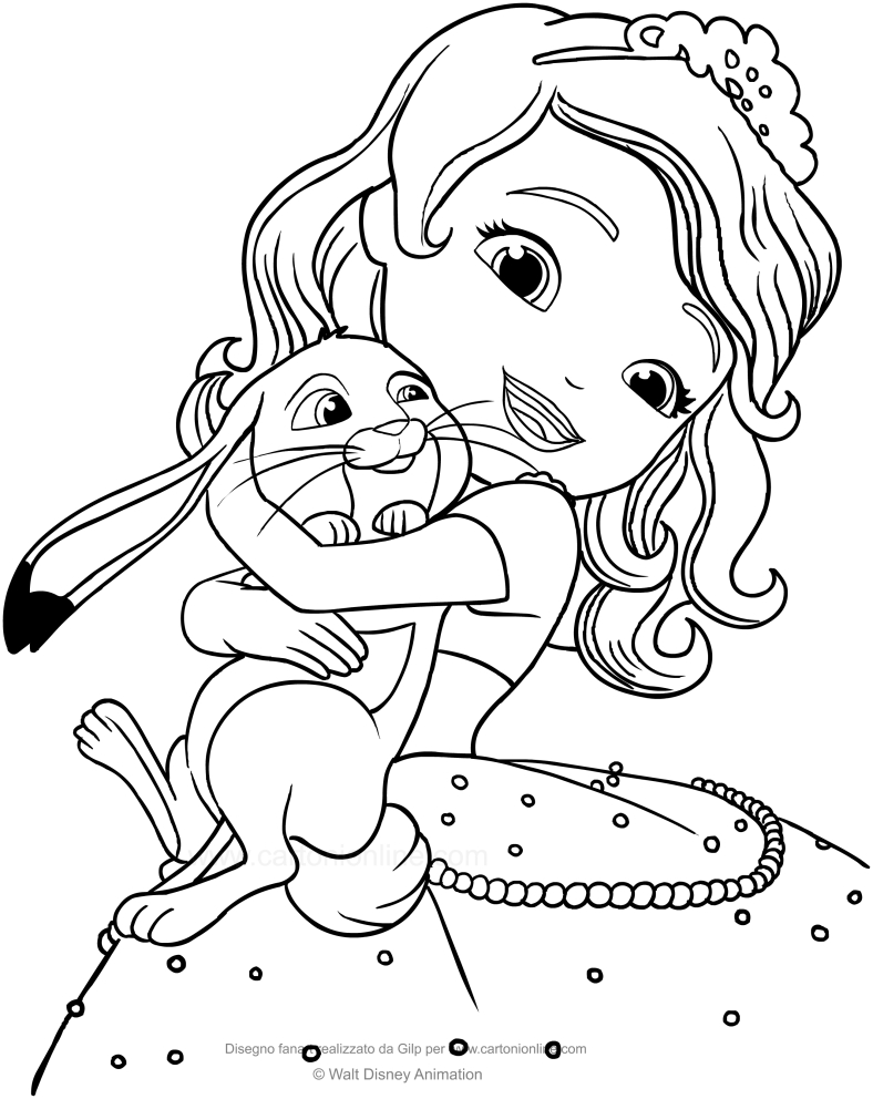 Dibujo de La Princesa Sofía y Clover el conejo para colorear