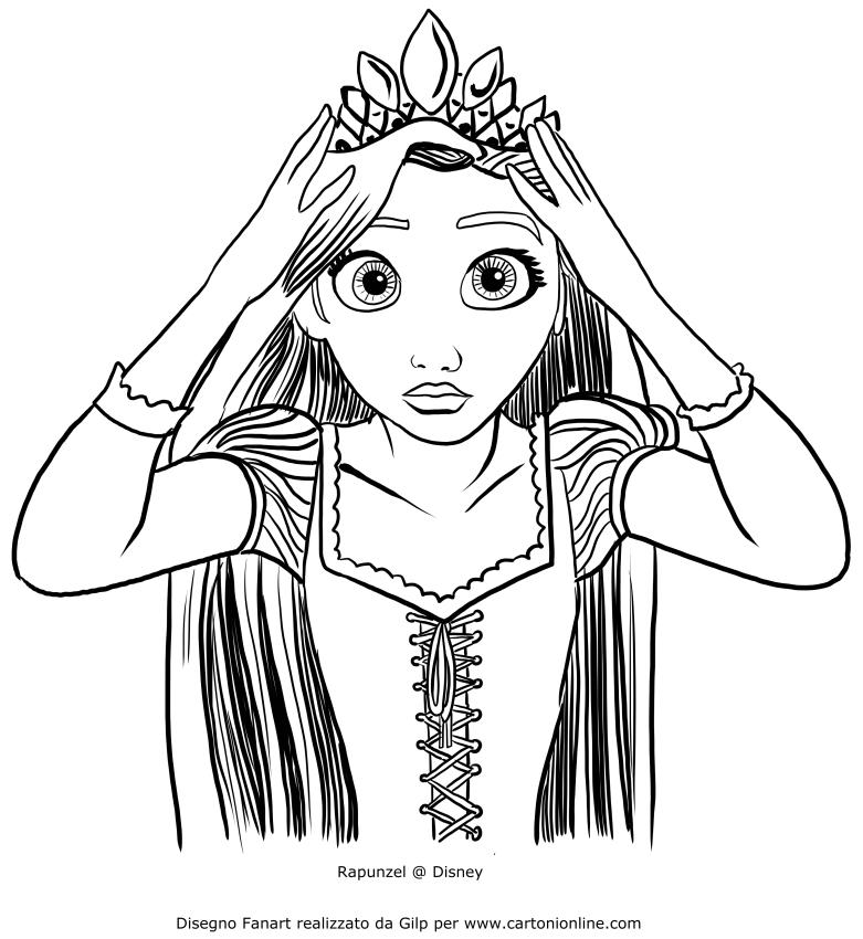 Dibujo de Rapunzel se corona con la diadema real para colorear