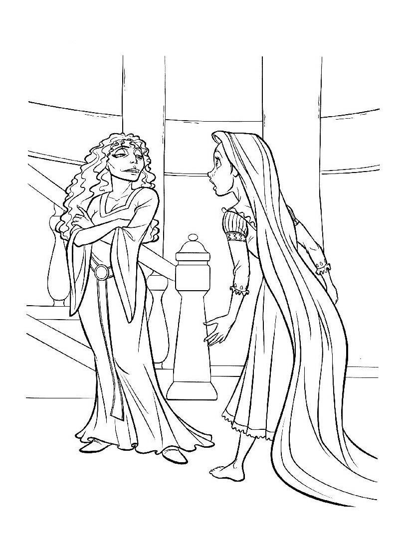 Dibujo de Rapunzel y madre Gothel para colorear