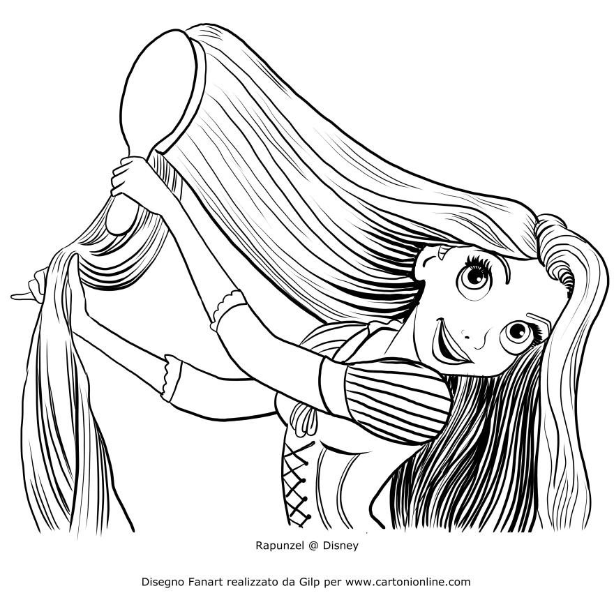 Dibujo de Rapunzel peinándose para colorear