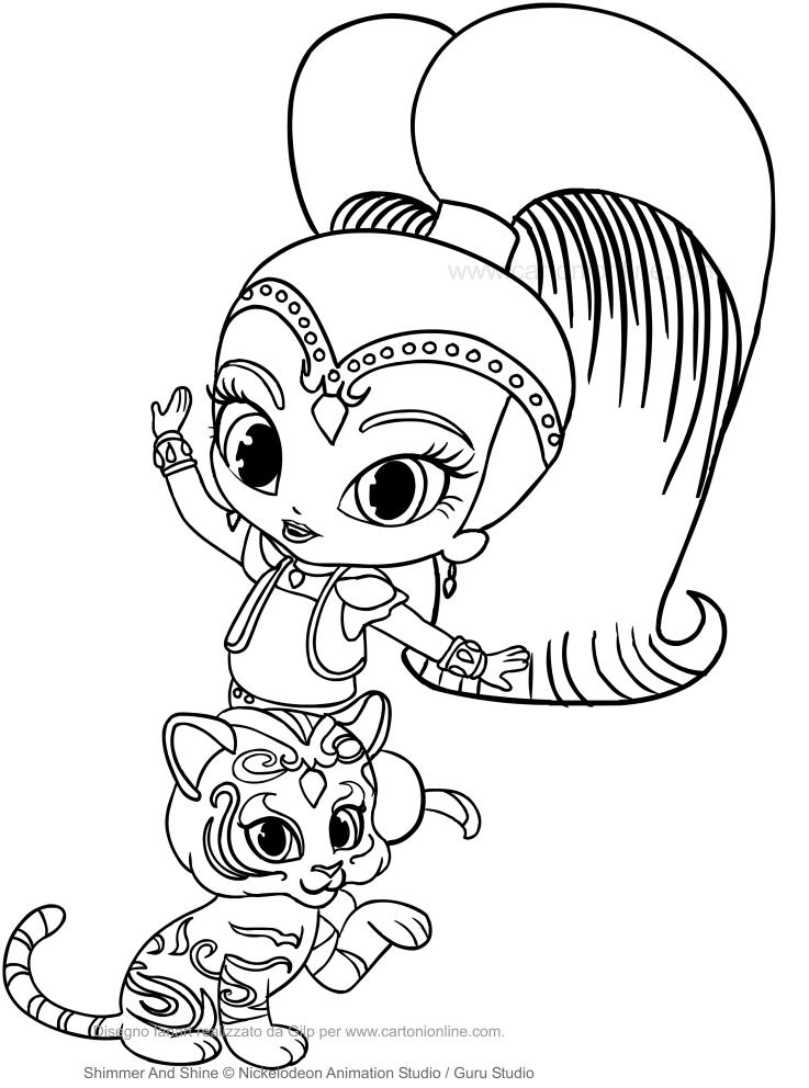 Dibujo de Shine y Nahal para colorear