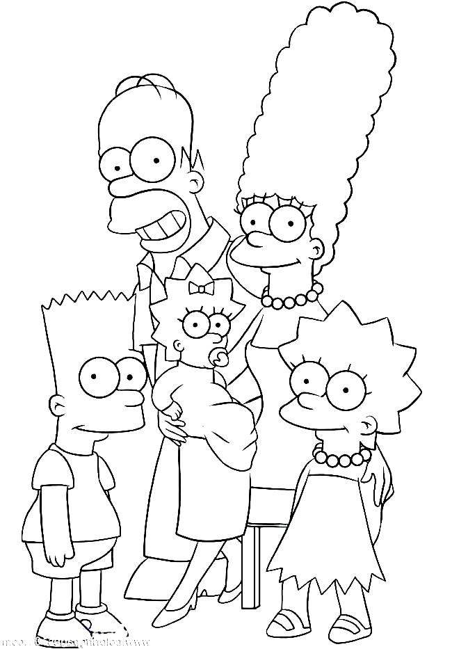 Dibujos de la familia Simpson para colorear