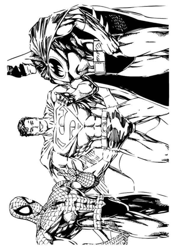 Dibujo de Spiderman, Superman e Batman para colorear