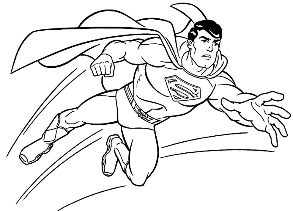 Dibujo de Superman en acción para colorear