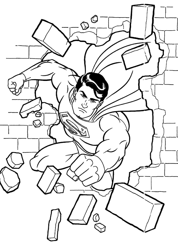 Dibujo De Superman Rompiendo Una Pared Para Colorear