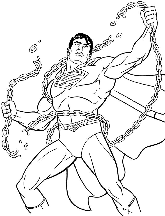 Dibujo de Superman rompiendo las cadenas para colorear