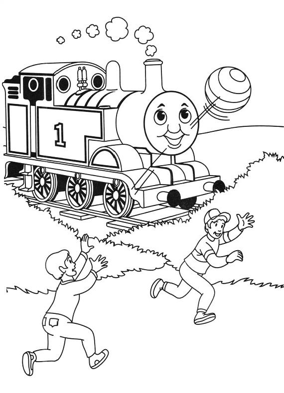 Dibujo del tren Thomas y los niños jugando con la pelota para colorear