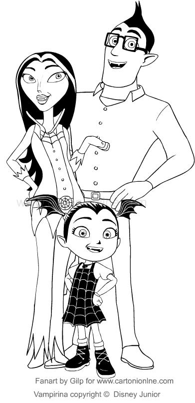 Dibujo De Vampirina Con I Suo Padres Para Colorear