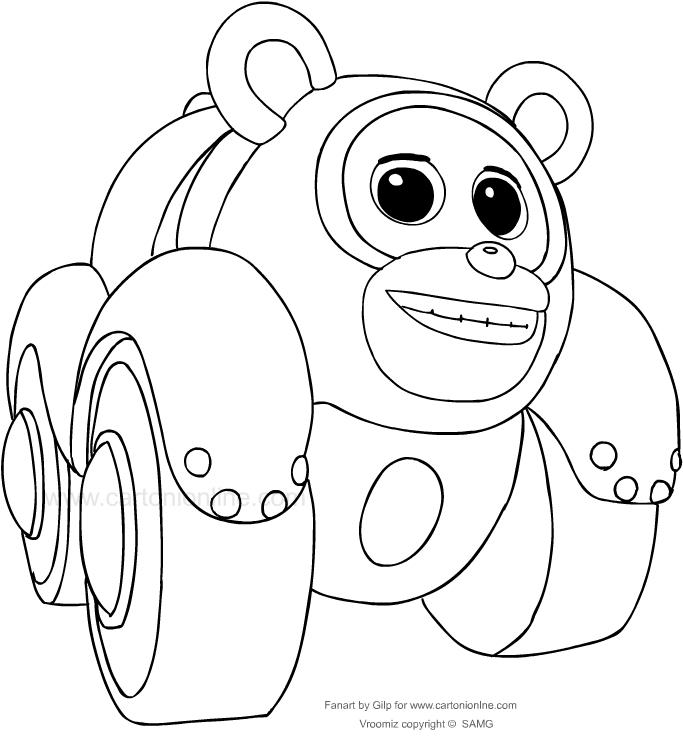 Dibujo de P.T. panda de los Vroomiz para colorear